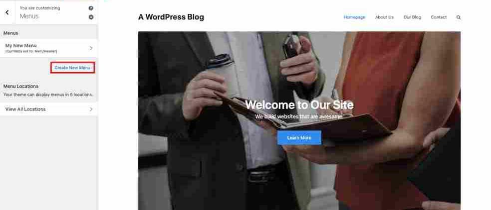 How to Create a WordPress Menu in the Live Customizer
