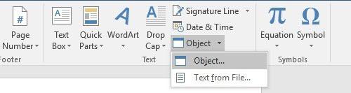 insert object in word