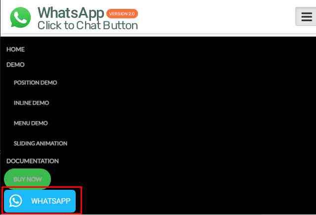 WhatsApp Button Add on menu feature