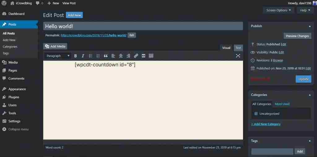 how to activate dark mode in wordpress