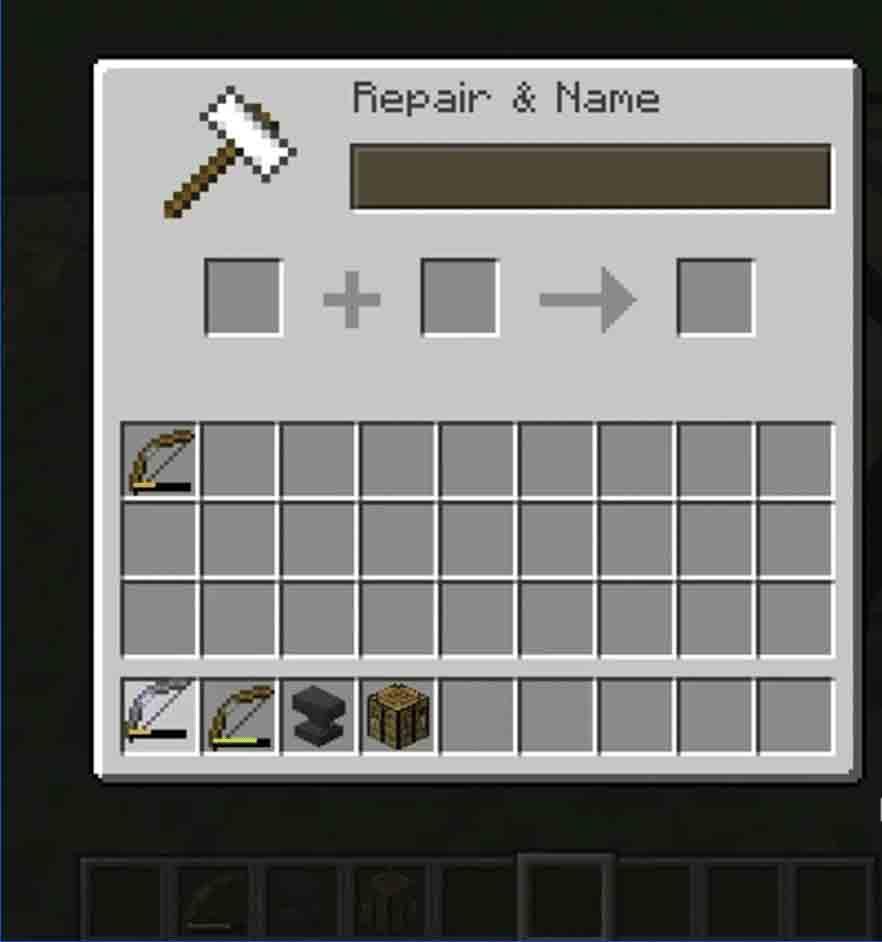 Minecraft Bow Repair Using Anvil