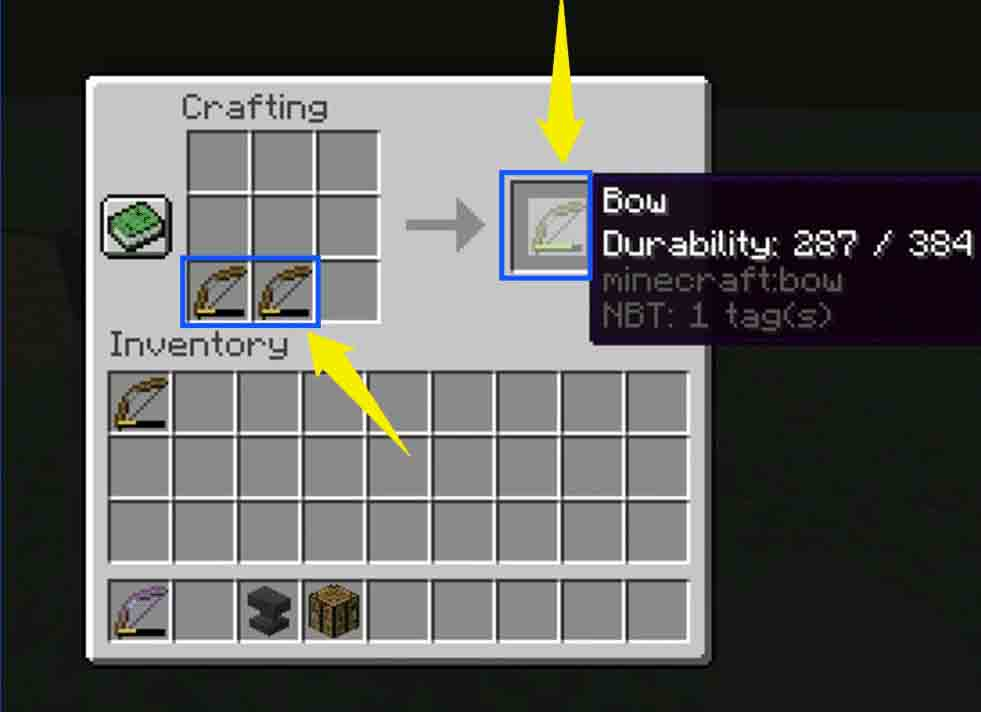 Repairing Minecraft Bow Using Crafting Table