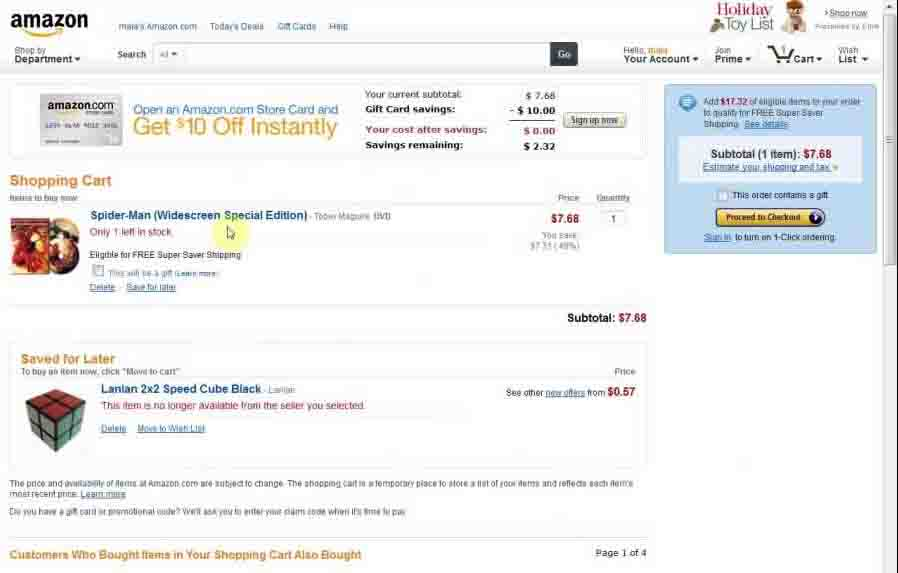 How to delete all the items from Amazon saved for a later list