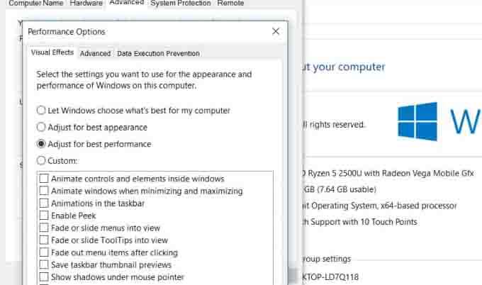 Reduce Windows Visual Effects