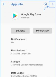 Clearing Google Play Cache memory